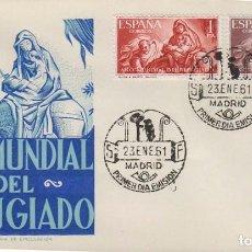 Sellos: EDIFIL 1326/7, AÑO MUNDIAL DEL REFUGIADO, LA HUIDA A EGIPTO (BAYEU), PRIMER DIA 23-1-1961 GOMIS. Lote 121999467