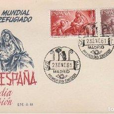 Sellos: EDIFIL 1326/7, AÑO MUNDIAL DEL REFUGIADO, PRIMER DIA DE 23-1-1961 EN SOBRE DEL SFC. Lote 121999575