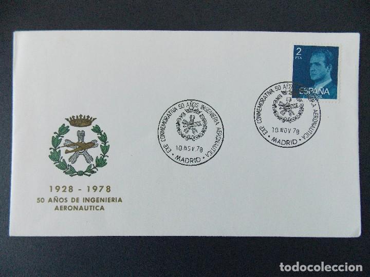 SOBRE EXPO CONMEMORATIVA 50 AÑOS INGENIERIA AERONAUTICA - MATASELLOS MADRID 1978... R-9397 (Sellos - Historia Postal - Sello Español - Sobres Primer Día y Matasellos Especiales)