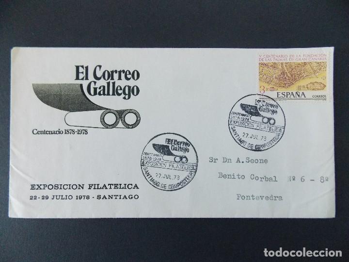 SOBRE - MATASELLOS EXPO CENTENARIO EL CORREO GALLEGO - SANTIAGO COMPOSTELA 1978.. R-9406 (Sellos - Historia Postal - Sello Español - Sobres Primer Día y Matasellos Especiales)