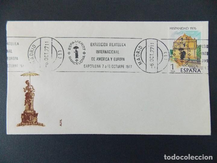 SOBRE - MATASELLOS RODILLO , EXPO INTER. AMERICA Y EUROPA - MADRID - AÑO 1977... R-9417 (Sellos - Historia Postal - Sello Español - Sobres Primer Día y Matasellos Especiales)