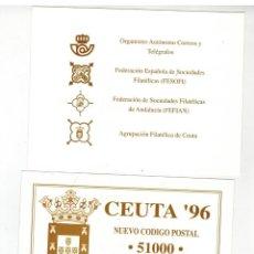 Sellos: PAREJA DE HOJAS RECUERDO EXPOSICION FILATELICA CEUTA 1996. Lote 123117883