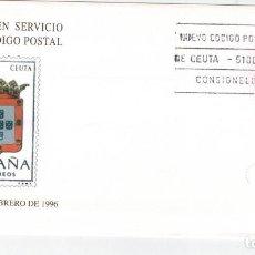 Sellos: SOBRE DEDICADO AL NUEVO CODIGO POSTAL DE CEUTA 1996. Lote 123120155