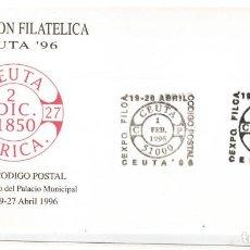 Sellos: SOBRE EXPOSICION FILATELICA CEUTA 1996 NUEVO CODIGO POSTAL. Lote 123120471