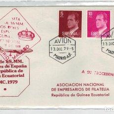 Sellos: SOBRE VISITA REYES A GUINEA ECUATORIAL VUELO MADRID-MALABO. Lote 123378943