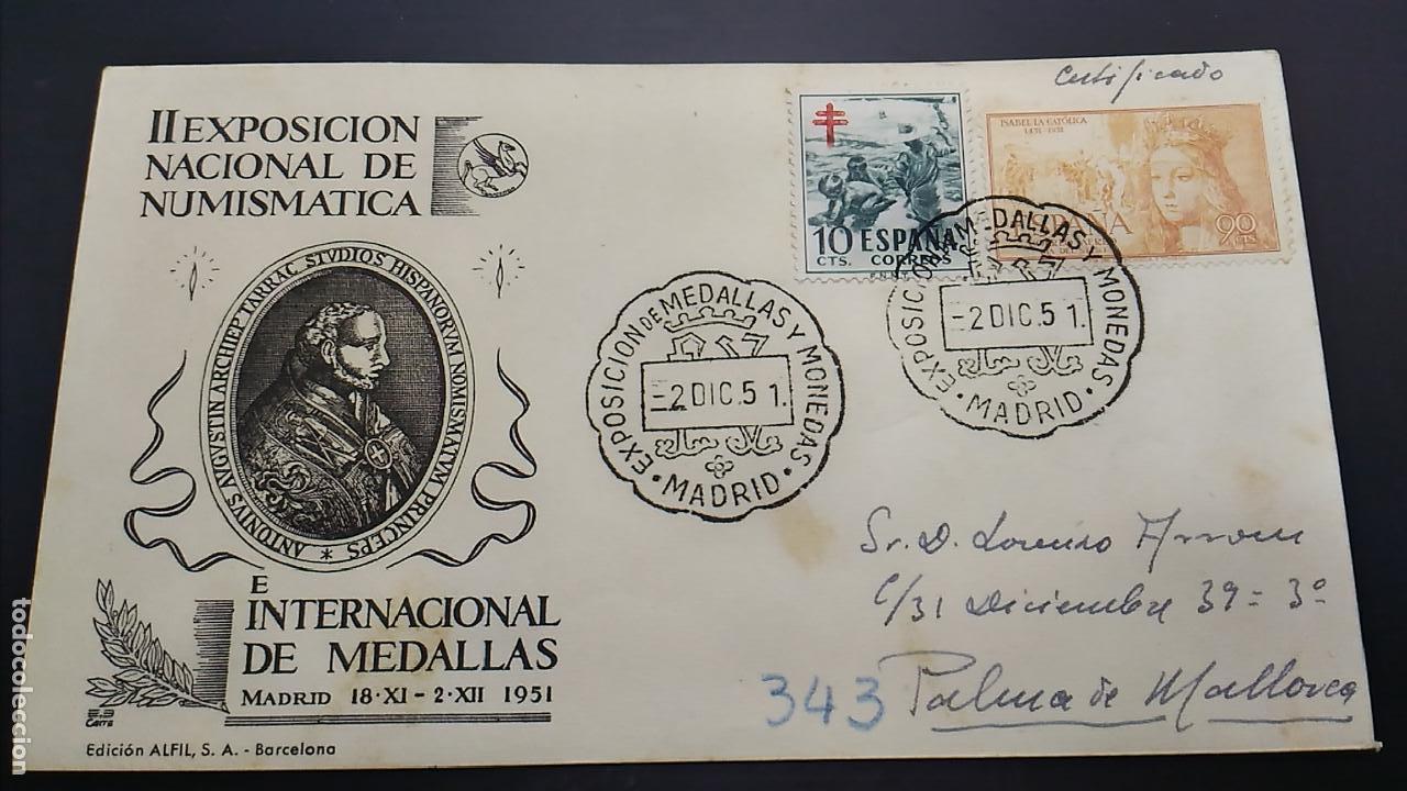 II EXPOSICIÓN NACIONAL DE NUMISMÁTICA. MADRID 2 DE DICIEMBRE DE 1951. (Sellos - Historia Postal - Sello Español - Sobres Primer Día y Matasellos Especiales)