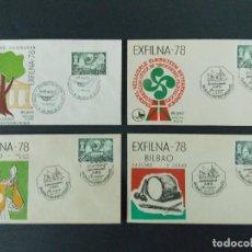 Sellos: 4 SOBRES / SOBRE, EXFILNA 78 - MATASELLOS BILBAO 1978 , EXPOSICION Y JORNADAS FILATELICAS .. R-9637. Lote 124132603