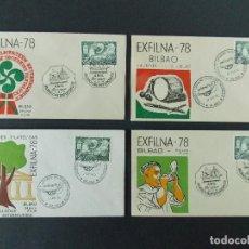 Sellos: 4 SOBRES / SOBRE, EXFILNA 78 - MATASELLOS BILBAO 1978 , EXPOSICION Y JORNADAS FILATELICAS .. R-9638. Lote 124133043