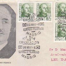 Sellos: GENERAL FRANCO 1948 (EDIFIL 1021 SEIS SELLOS) EN RARO SPD CIRCULADO NUMERO 1 DEL SERVICIO FILATELICO. Lote 125327643