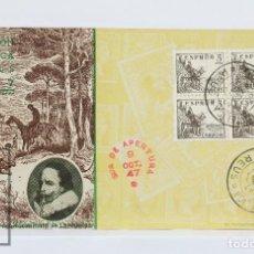 Sellos: TARJETA CON MATASELLOS ESPECIAL - EXPOSICIÓN FILATÉLICA DE REUS, 1947 - IV CENTENARIO CERVANTES. Lote 125801499