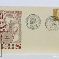 Sellos: SOBRE CON MATASELLOS ESPECIAL - X CONCURSO EXPOSICIÓN NACIONAL ROSAS, REUS, 1957. Lote 125804643
