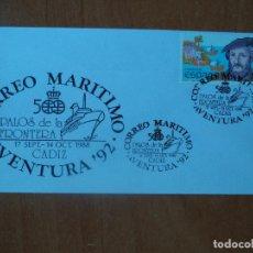 Sellos: SOBRE. CORREO MARITIMO AVENTURA-92. 1988. PALOS DE LA FRONTERA.500. CADIZ.. Lote 127474083