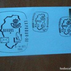 Sellos: SOBRE. CORREOS Y TELEGRAFOS EXPO-90. 1990. BURGOS.. Lote 127474663