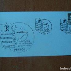 Sellos: SOBRE, II PREMIO DE NARRATIVA TORRENTE BALLESTER. 1990. FERROL.EXFIGALICIA-90. FERROL. 1990.. Lote 127475399