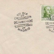Sellos: EDIFIL 1021, GENERAL FRANCO, PRIMER DIA DE 20-5-1948. Lote 128621715