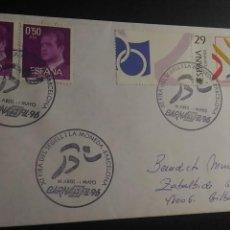 Sellos: SOBRE CON SELLO Y MATASELLO. BARNAFIL'96. BARCELONA 1996. FIRA DEL SEGELL I LA MONEDA. DEPORTES.. Lote 130100335