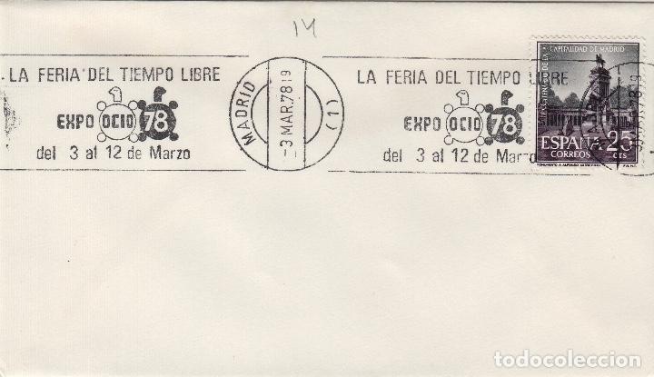 MADRID 1978 - FERIA TIEMPO LIBRE EXPO OCIO 78 - SOBRE CON MATASELLOS DE RODILLO (Sellos - Historia Postal - Sello Español - Sobres Primer Día y Matasellos Especiales)