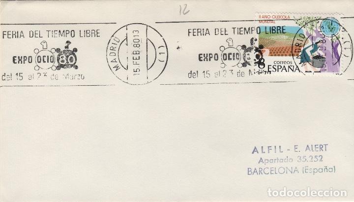 MADRID 1980 - FERIA TIEMPO LIBRE EXPO OCIO 80 - SOBRE CON MATASELLOS DE RODILLO (Sellos - Historia Postal - Sello Español - Sobres Primer Día y Matasellos Especiales)