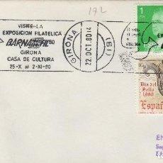 Sellos: GERONA 1980 - EXPOSICION BANAFIL 80 - SOBRE CON MATASELLOS DE RODILLO. Lote 130517878