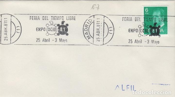 MADRID - FERIA TIEMPO LIBRE EXPO OCIO 81 - SOBRE CON MATASELLOS DE RODILLO (Sellos - Historia Postal - Sello Español - Sobres Primer Día y Matasellos Especiales)