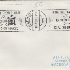 Sellos: MADRID 1983 - FERIA TIEMPO LIBRE EXPO OCIO 83 - SOBRE CON MATASELLOS DE RODILLO. Lote 130881432