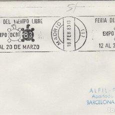 Sellos: MADRID 1983 - FERIA TIEMPO LIBRE EXPO OCIO 83 - SOBRE CON MATASELLOS DE RODILLO. Lote 130881436