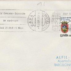 Sellos: GAVA ( BARCELONA) 1983 - XXV CONCURSO EXPOSICION DE ESPÁRRAGOS - SOBRE CON MATASELLOS DE RODILLO. Lote 130881640