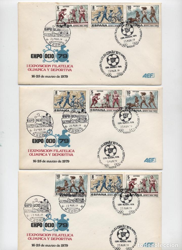 6 SOBRES MATASELLOS MADRID 1979 EXPOOCIO-79 I EXPOSICIÓN OLIMPICA Y DEPORTIVA + HOJA RECUERDO AÑO 19 (Sellos - Historia Postal - Sello Español - Sobres Primer Día y Matasellos Especiales)