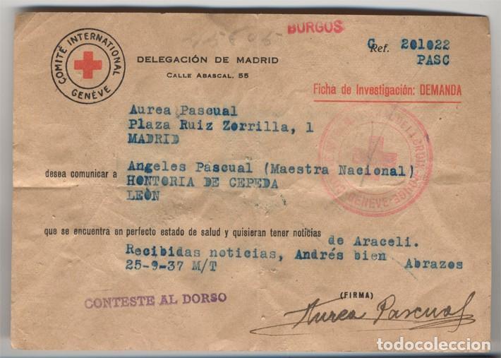 FORMULARIO DE MENSAJE -FICHA- MATASELLOS DEL COMITÉ INTERNACIONAL DE GINEBRA. (Sellos - Historia Postal - Sello Español - Sobres Primer Día y Matasellos Especiales)