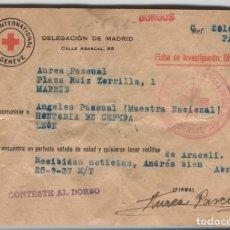 Sellos: FORMULARIO DE MENSAJE -FICHA- MATASELLOS DEL COMITÉ INTERNACIONAL DE GINEBRA.. Lote 131510030