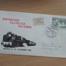 Sellos: MATASELLOS 1991 - EXFILNA - TREN VAPOR MADRID ARANJUEZ - CIRCULADO SUIZA -. Lote 132954658