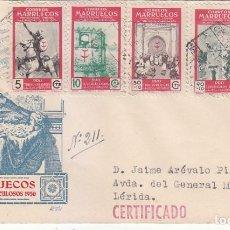 Sellos: MARRUECOS PRO TUBERCULOSOS 1950 (EDIFIL 325/29) EN SOBRE PRIMER DIA CIRCULADO DE DP. RARO ASI.. Lote 133152366