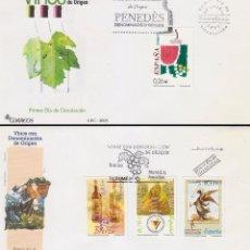 Francobolli: EDIFIL 4015/8, VINOS DENOMINACION DE ORIGEN PENEDES,BIERZO, MONTILLA VALDEPEÑAS PRIMER DIA 22-9-2003. Lote 134300446