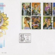 Sellos: EDIFIL 4003/8, LA MUJER Y LAS FLORES (PINTURAS DE ALFREDO ROLDAN), PRIMER DIA DE 28-7-2003. Lote 134301662