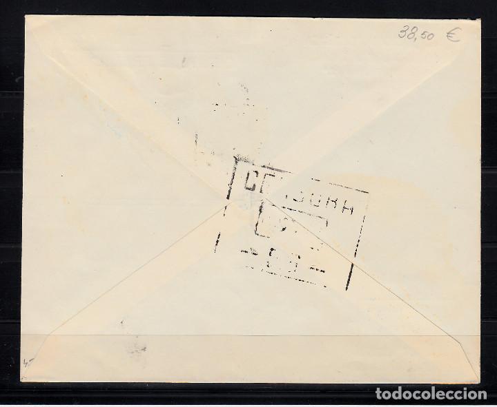Sellos: SPD PRIMER DIA 12 OCTUBRE 1945 SELLO NUM. 990 CERTIFICADO A PARÍS - REMITENTE BARCELONA FILATELICA - Foto 2 - 134948946