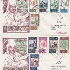 Sellos: MARRUECOS EL JALIFA EXALTACION AL TRONO XXX ANIVERSARIO 1955 (EDIFIL 406/15 EN DOS SPD CIRCULADOS DP. Lote 135152322