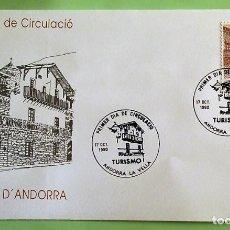 Selos: ANDORRA E. SPD 221 TURISMO: CASA PLANDOLIT. 1990. MATASELLO PRIMER DÍA: 17 OTUBRE 1990 ANDORRA LA VE. Lote 136833490