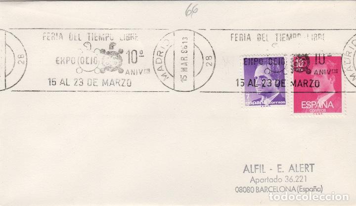 MADRID 1986 - FERIA TIEMPO LIBRE EXPO OCIO 86 - SOBRE CON MATASELLOS DE RODILLO (Sellos - Historia Postal - Sello Español - Sobres Primer Día y Matasellos Especiales)