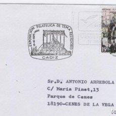 Sellos: SOBRE CIRCULADO Y CON MATASELLOS EXPO FILATELICA DE TEMA RELIGIOSOS. CÁDIZ 1992. Lote 137870198