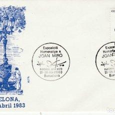Sellos: BARCELONA - SOBRE PRIMER DIA EXPOSICIO HOMENATGE JOAN MIRO 1983 - MATASELLO - FRANQUEADO - PINTURA. Lote 138710070