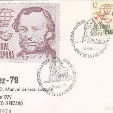 Selos: CABALLOS FERIA DEL CABALLO EXFILJEREZ 79, JEREZ DE LA FRONTERA (CADIZ) 1979 MATASELLOS TARJETA ISASI. Lote 138819594