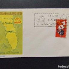 Sellos: IV CENTENARIO FUNDACION SAN AGUSTIN , FLORIDA 1965 , EDIFIL 1674 , EN 1 SOBRE PRIMER DIA SFC .. A227. Lote 139110878