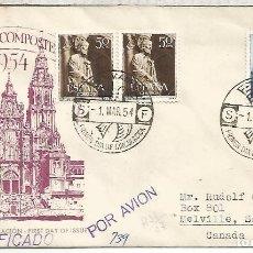 Sellos: AÑO SANTO COMPOSTELANO 1954 CC SPD CERTIFICADA A CANADA CON LLEGADA AL DORSO SANTIAGO. Lote 139310718