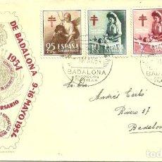 Sellos: SOBRE DE PRIMER DÍA - BADALONA - 50 ANIVERSARIO EXPOSICIÓN FILATELICA DE BADALONA - 1954. Lote 139649642