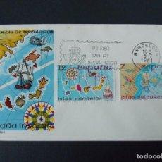 Sellos: ESPAÑA INSULAR , BARCELONA 1981 - EDIFIL 2622/23 COMPLETA - SOBRE PRIMER DIA SFC .. A305. Lote 140625750