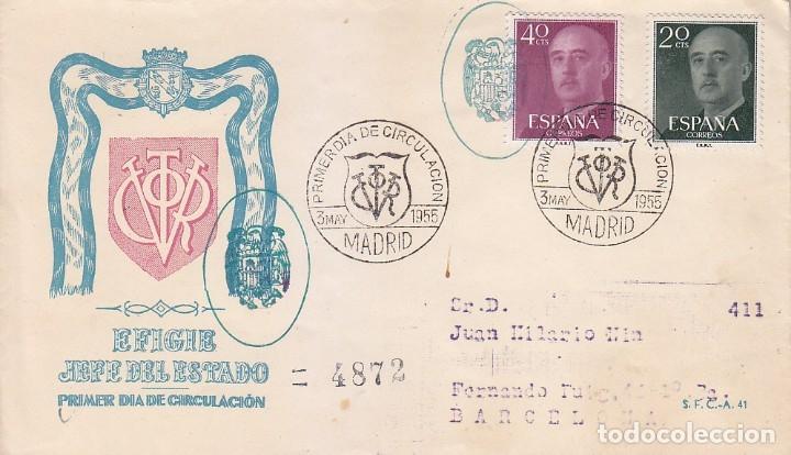 GENERAL FRANCO 1955-1956 (EDIFIL 1145-48) SPD CIRCULADO SERVICIO FILATELICO MARCA ESCUDO ESPAÑA RARO (Sellos - Historia Postal - Sello Español - Sobres Primer Día y Matasellos Especiales)