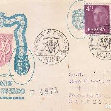 Sellos: GENERAL FRANCO 1955-1956 (EDIFIL 1145-48) SPD CIRCULADO SERVICIO FILATELICO MARCA ESCUDO ESPAÑA RARO. Lote 36513951