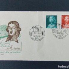 Sellos: II CENTENARIO LEANDRO FERNANDEZ MORATIN 1961 - EDIFIL 1328/29 COMPLETA - EN SOBRE PRIMER DIA .. A345. Lote 140790302