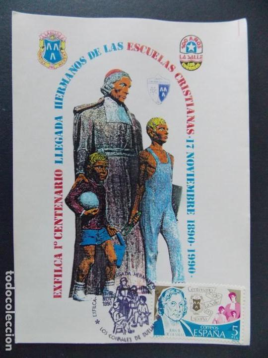 LOS CORRALES DE BUELNA 1990 , SANTANDER , CANTABRIA - 100 ANIV. LA SALLE -TARJETA ILUSTRADA .A453 (Sellos - Historia Postal - Sello Español - Sobres Primer Día y Matasellos Especiales)