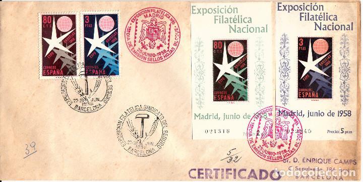 SPD EXPOSICION FILATÉLICA BRUSELAS -1958 NUMS 1220-1221-1222-1223 Y MATASELLOS EXPOS.FIL.SINDICATO (Sellos - Historia Postal - Sello Español - Sobres Primer Día y Matasellos Especiales)